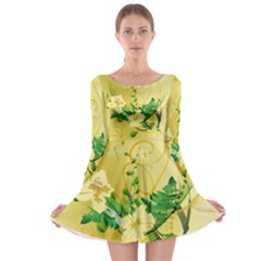Wonderful Soft Yellow Flowers With Leaves Long Sleeve Skater Dress