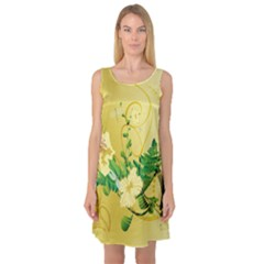 Wonderful Soft Yellow Flowers With Leaves Sleeveless Satin Nightdresses