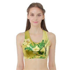 Wonderful Soft Yellow Flowers With Leaves Women s Sports Bra with Border