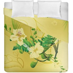 Wonderful Soft Yellow Flowers With Leaves Duvet Cover (king Size)