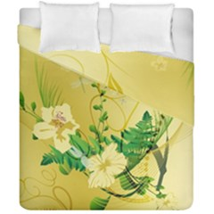 Wonderful Soft Yellow Flowers With Leaves Duvet Cover (double Size)