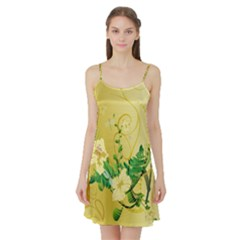 Wonderful Soft Yellow Flowers With Leaves Satin Night Slip