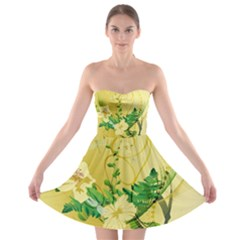 Wonderful Soft Yellow Flowers With Leaves Strapless Bra Top Dress