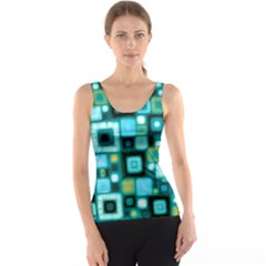 Teal Squares Tank Tops