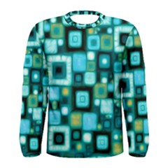 Teal Squares Men s Long Sleeve T Shirts