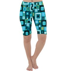Teal Squares Cropped Leggings