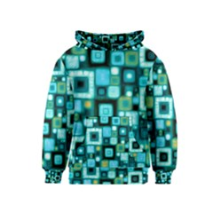 Teal Squares Kid s Pullover Hoodies