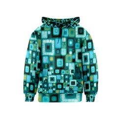 Teal Squares Kids Zipper Hoodies