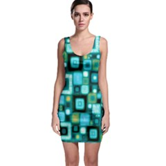 Teal Squares Bodycon Dresses