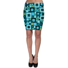 Teal Squares Bodycon Skirts