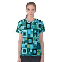 Teal Squares Women s Cotton Tees