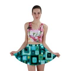 Teal Squares Mini Skirts