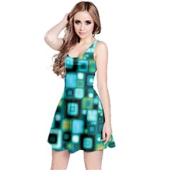 Teal Squares Reversible Sleeveless Dresses