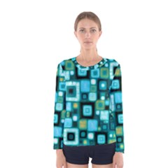 Teal Squares Women s Long Sleeve T-shirts