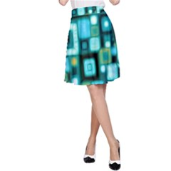 Teal Squares A-Line Skirts