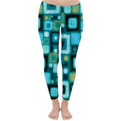 Teal Squares Winter Leggings