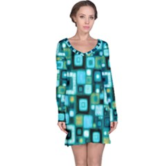 Teal Squares Long Sleeve Nightdresses