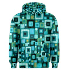 Teal Squares Men s Zipper Hoodies