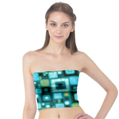Teal Squares Women s Tube Tops