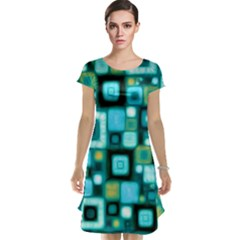 Teal Squares Cap Sleeve Nightdresses