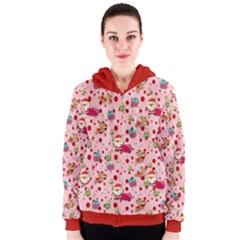 Red Christmas Pattern Women s Zipper Hoodies
