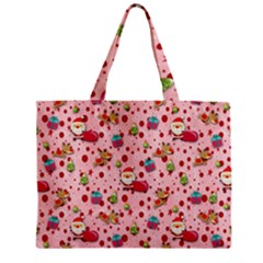 Red Christmas Pattern Zipper Tiny Tote Bags