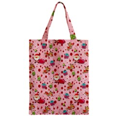 Red Christmas Pattern Zipper Classic Tote Bags