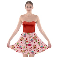 Red Christmas Pattern Strapless Bra Top Dress