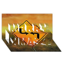 Direction Merry Xmas 3D Greeting Card (8x4)