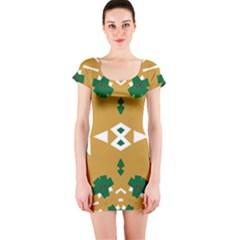 Alvilde Henriette Green Short Sleeve Bodycon Dresses