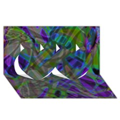 Colorful Abstract Stained Glass G301 Twin Hearts 3d Greeting Card (8x4)
