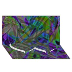 Colorful Abstract Stained Glass G301 Twin Heart Bottom 3d Greeting Card (8x4)
