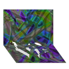 Colorful Abstract Stained Glass G301 Love Bottom 3d Greeting Card (7x5)