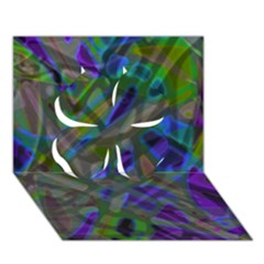 Colorful Abstract Stained Glass G301 Clover 3D Greeting Card (7x5)