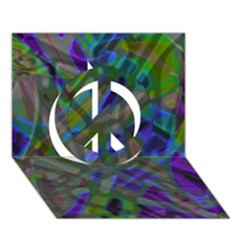 Colorful Abstract Stained Glass G301 Peace Sign 3d Greeting Card (7x5)
