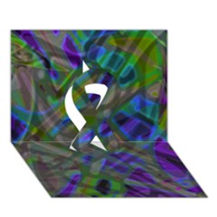 Colorful Abstract Stained Glass G301 Ribbon 3d Greeting Card (7x5)