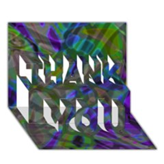 Colorful Abstract Stained Glass G301 THANK YOU 3D Greeting Card (7x5)