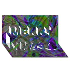 Colorful Abstract Stained Glass G301 Merry Xmas 3D Greeting Card (8x4)
