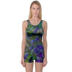 Colorful Abstract Stained Glass G301 Women s Boyleg One Piece Swimsuits