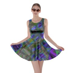 Colorful Abstract Stained Glass G301 Skater Dresses
