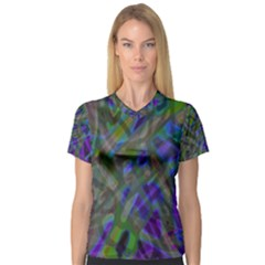 Colorful Abstract Stained Glass G301 Women s V Neck Sport Mesh Tee