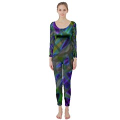 Colorful Abstract Stained Glass G301 Long Sleeve Catsuit