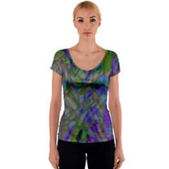 Colorful Abstract Stained Glass G301 Women s V-Neck Cap Sleeve Top