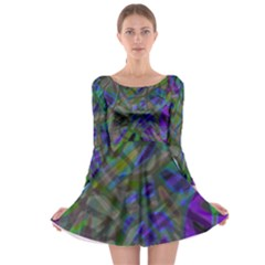 Colorful Abstract Stained Glass G301 Long Sleeve Skater Dress