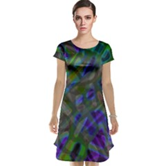 Colorful Abstract Stained Glass G301 Cap Sleeve Nightdresses
