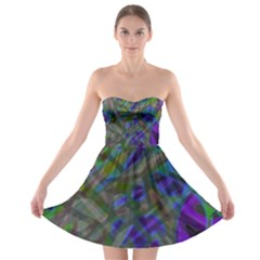 Colorful Abstract Stained Glass G301 Strapless Bra Top Dress