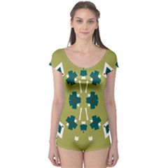Alvilde Dina Green Short Sleeve Leotard