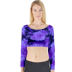 Phenomenal Blossoms Blue Long Sleeve Crop Top
