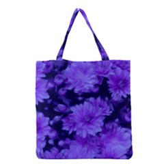 Phenomenal Blossoms Blue Grocery Tote Bags