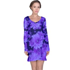 Phenomenal Blossoms Blue Long Sleeve Nightdresses